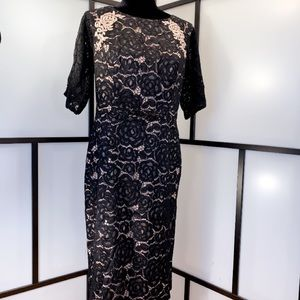 ADRIANNA PAPELL Black Lace Overlay Sheath Dress